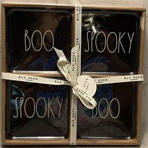 Rae Dunn Ceramic Halloween Boo Spooky Coaster Set